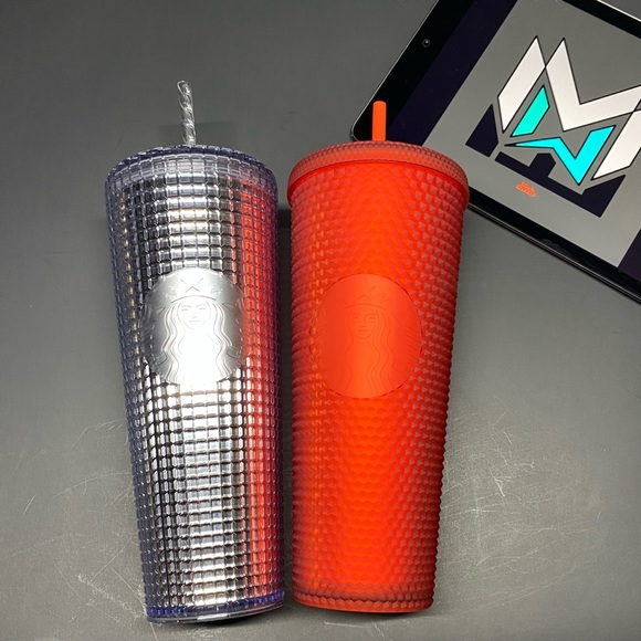 2 Starbucks Red & Silver Studded Cold Tumbler Cups